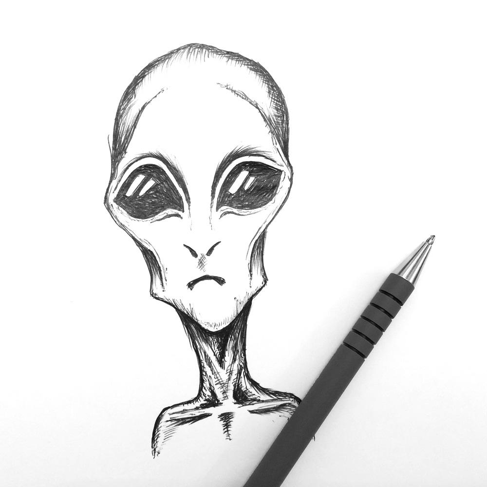 alien head sketch