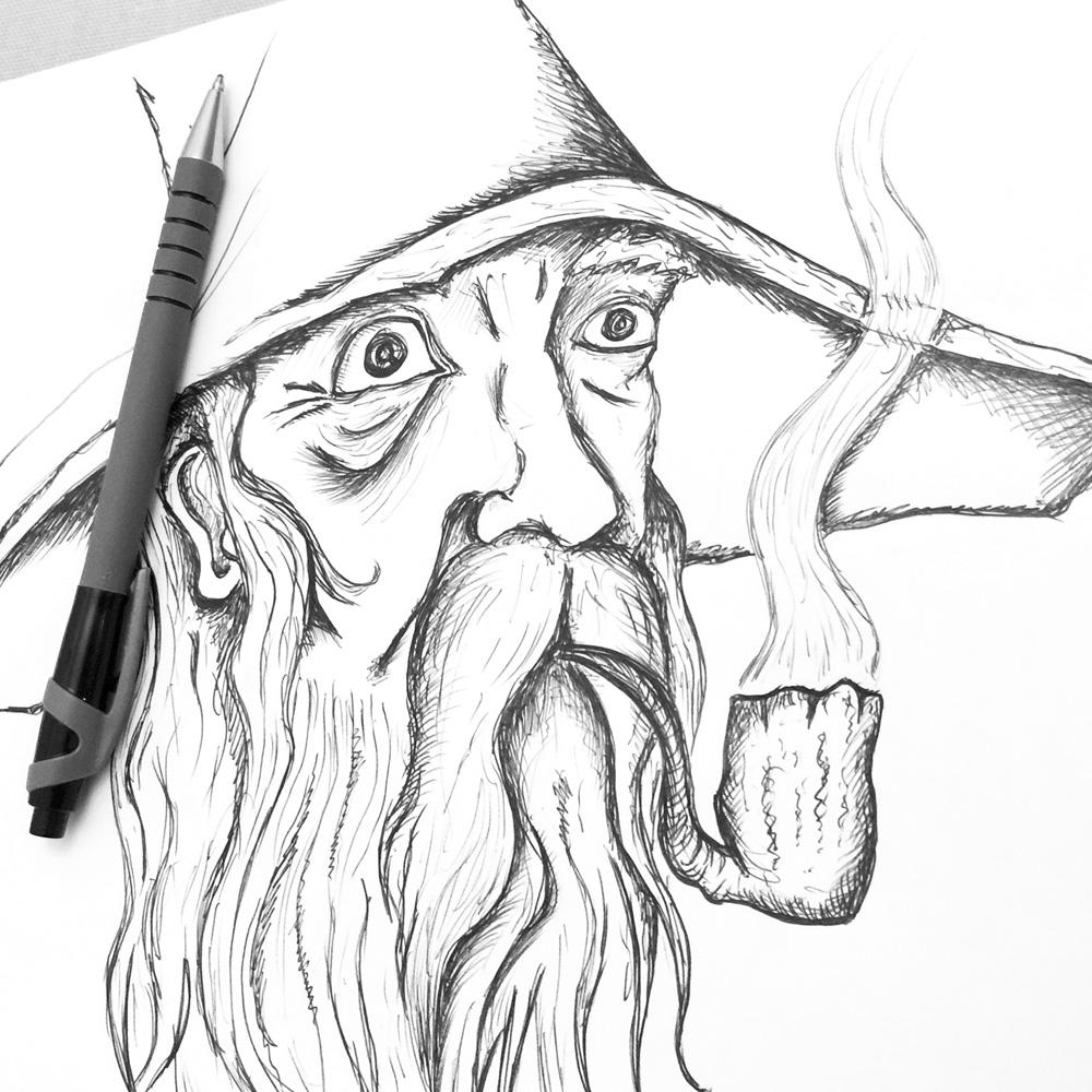 Gandalf the wizard sketch illustration