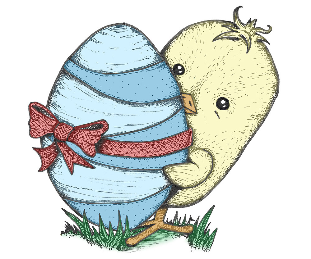 Easter chick holding an Easter egg