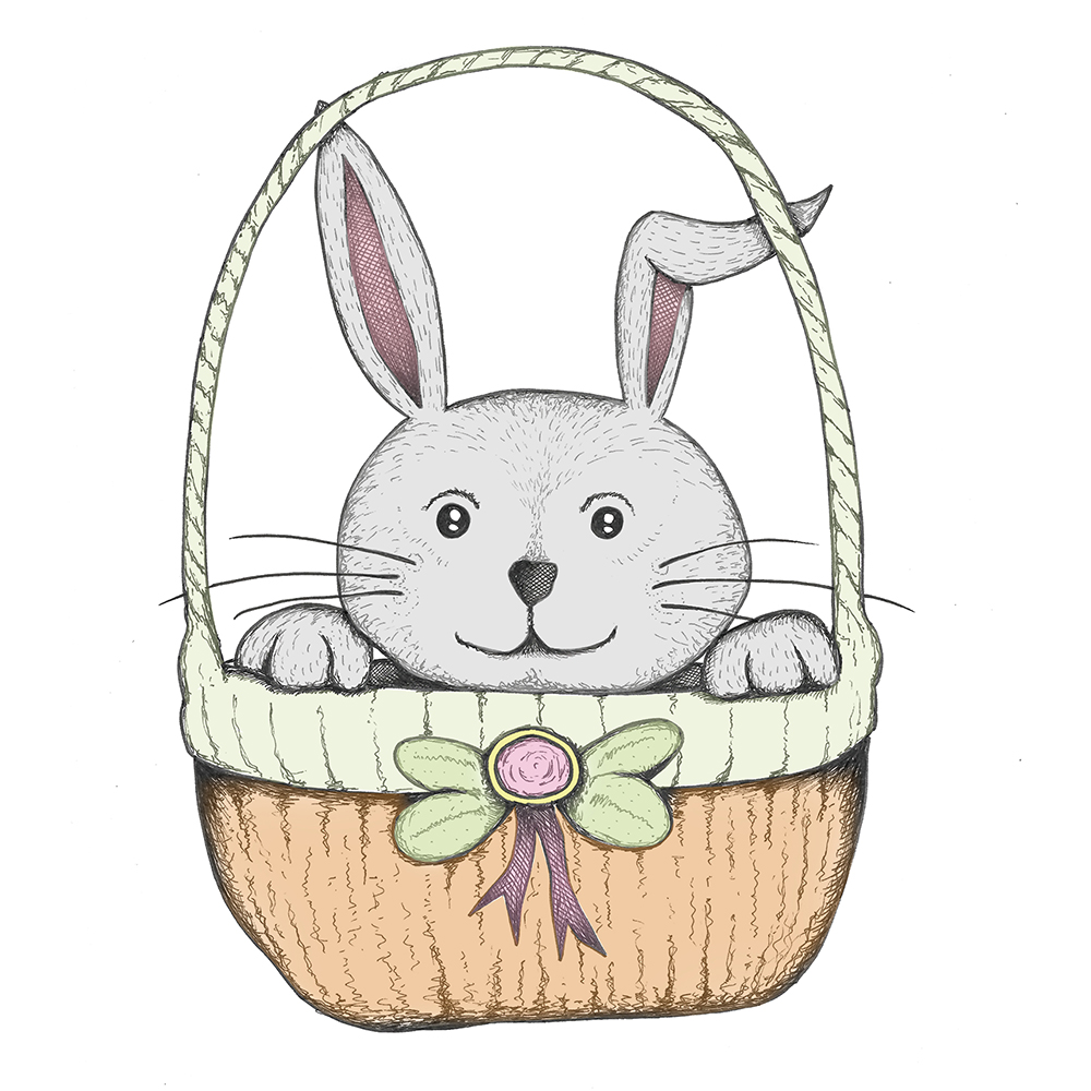 Easter bunny in a basket
