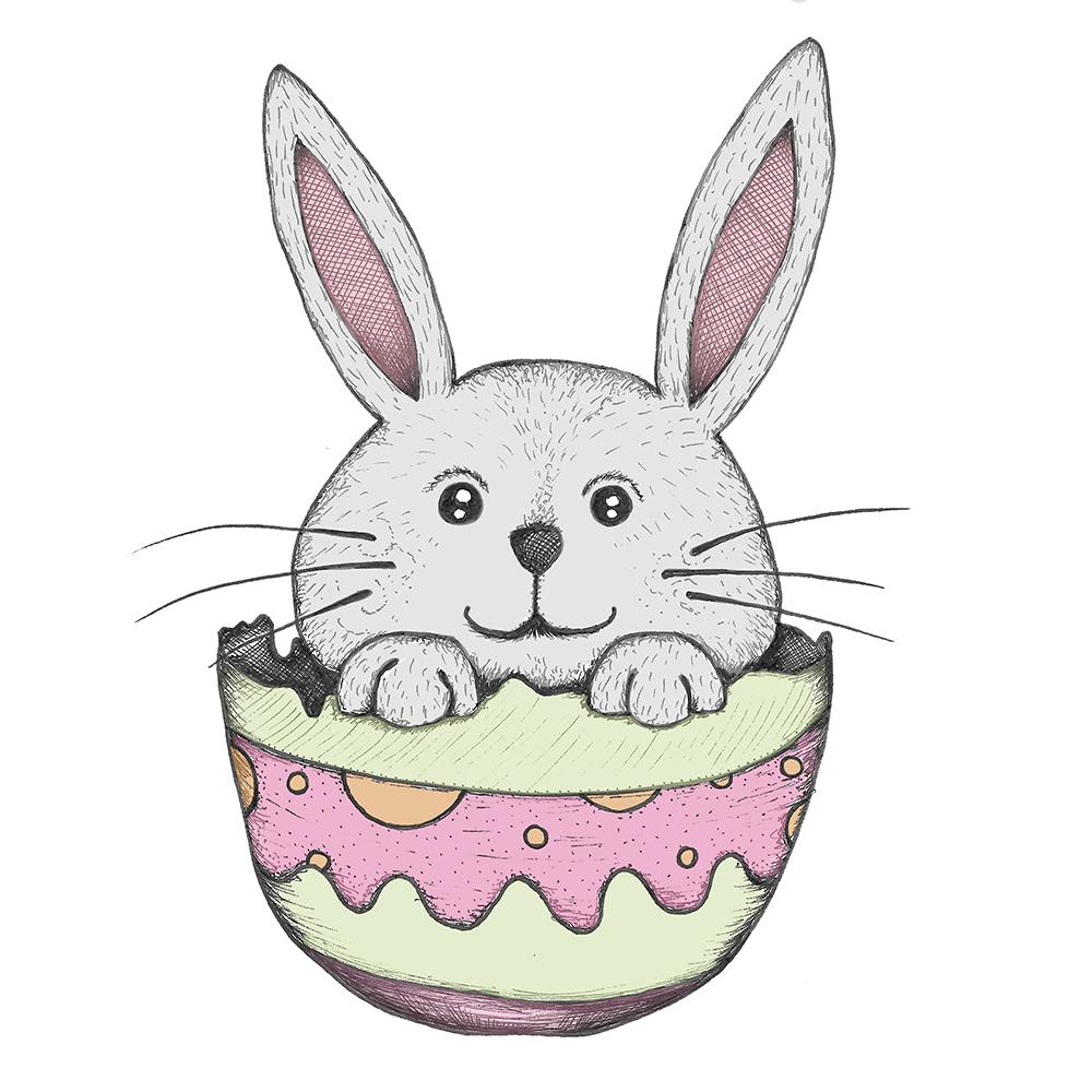 Easter bunny inside an Easter egg