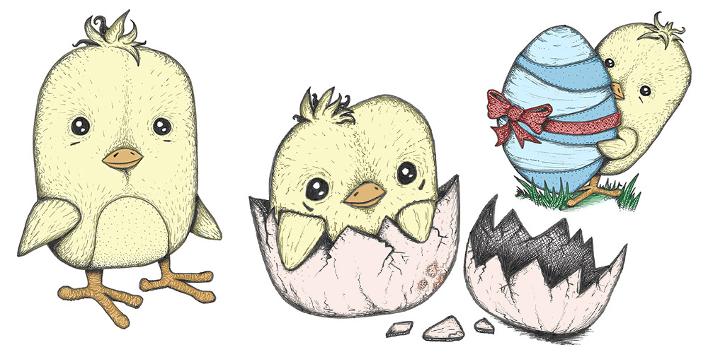 FREE Easter Chick Drawings