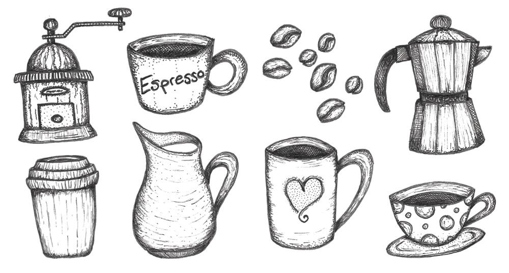 FREE hand drawn coffee illustrations