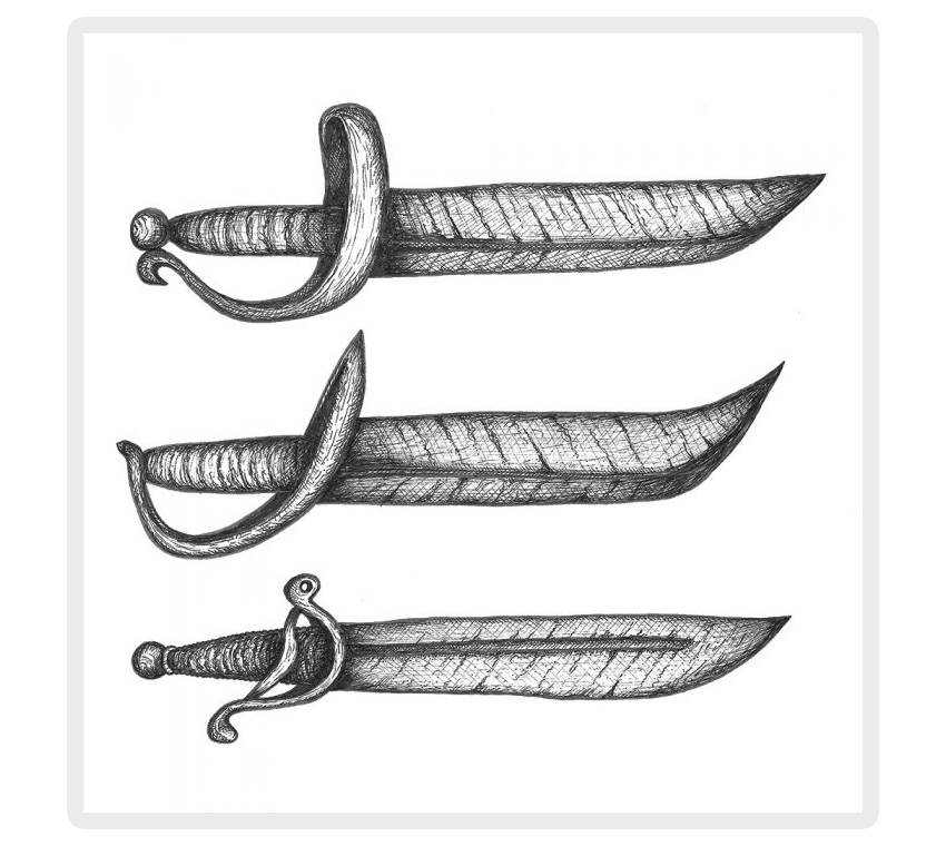 Pirate sword and cutlass drawing
