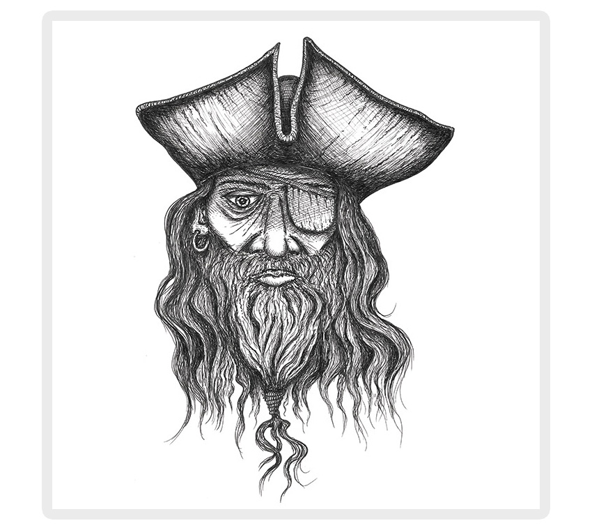 Pirate with an eye patch drawing