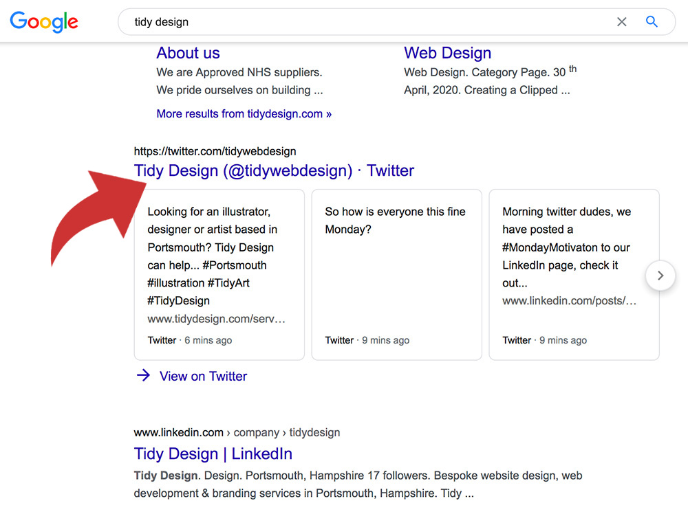 twitter feed in google search