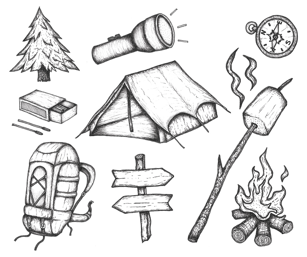 camping icons drawing