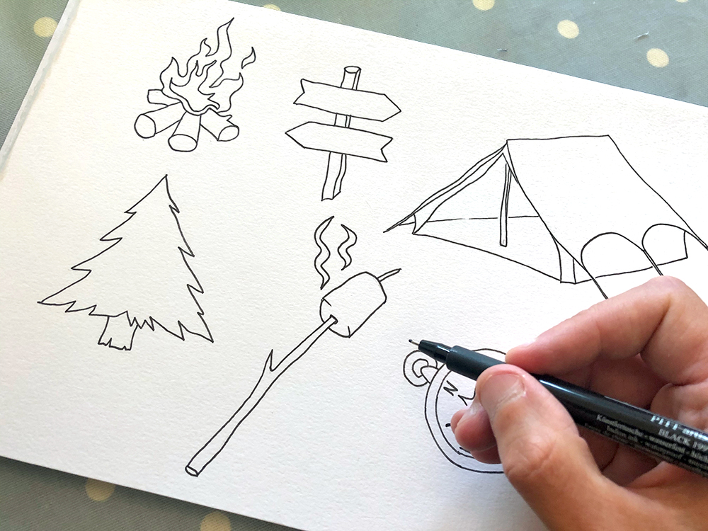 hand drawn camping icons