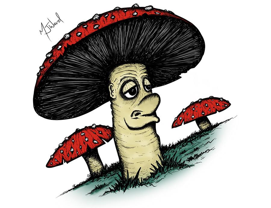 Friendly Fungi Drawing, Fantasy Art