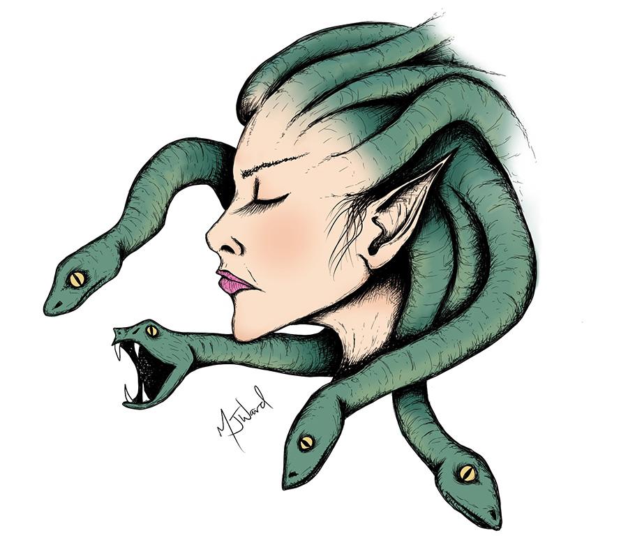 Medusa Drawing, Fantasy Art